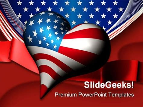 Patriotic Love Heart Americana Powerpoint Template 1010 Powerpoint Themes Patriotic Powerpoint