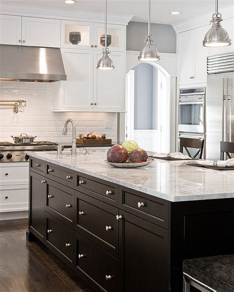 White Kitchen Cabinets With Dark Island Kitchen Cabinets Black And White