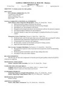 sle of chronological resume resume for business administration majors sales