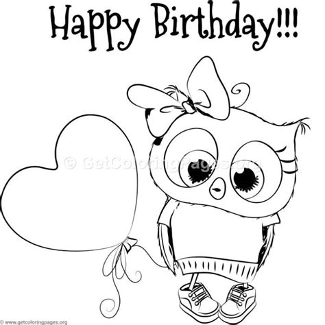 happy birthday owl coloring pages cute owl coloring pages getcoloringpages org