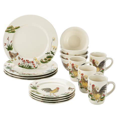 paula deen signature dinnerware southern rooster collection 16 pc set at hayneedle