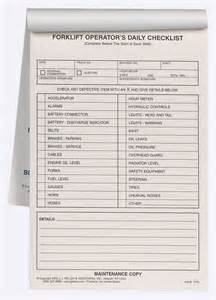 Forklift Checklist Template by Forklift Operator Daily Checklist Book Format