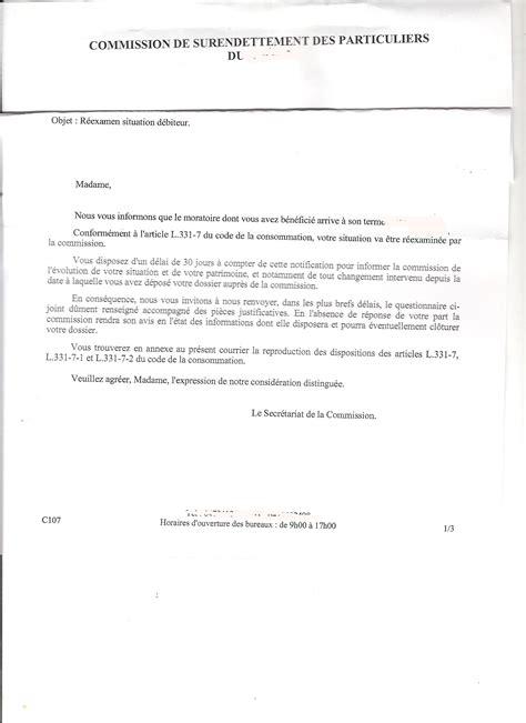 modele lettre surendettement banque document