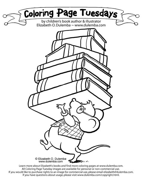Dulemba Coloring Page Tuesday Library Mouse Colouring Pages Book