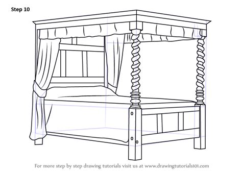 how to draw bed learn how to draw a four poster bed furniture step by