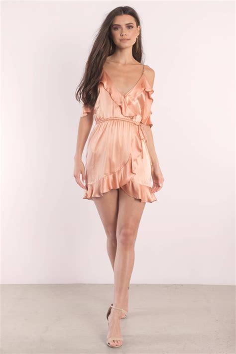 Satin Ruffles Dress coral dress cold shoulder dress coral slip dress wrap dress 108 tobi us