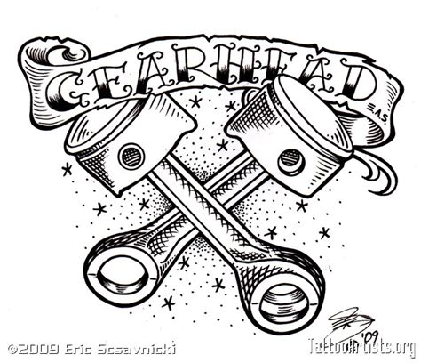 gear head tattoos designs pics for gt gear skull drawing