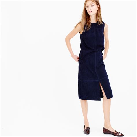 j crew collection a line midi skirt in suede in blue lyst