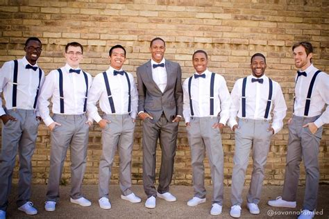 Mens Wedding Attire Vancouver by Gray Suits And Suspenders For Groom And Groomsmen Quince