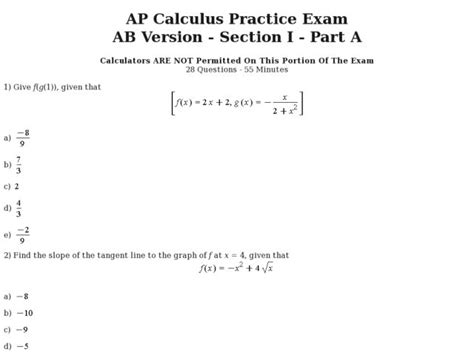 ap calculus ab section 1 part a answers calculus worksheets worksheets for school getadating