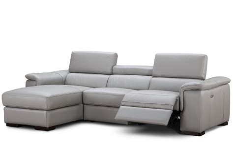 Power Sectional Sofa 3 Alba Premium Grey Leather Power Sectional