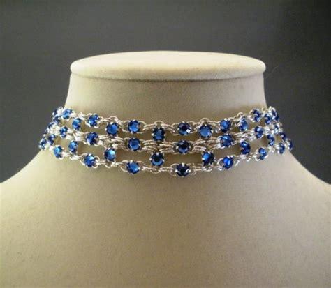 Blue Choker brick chain maille choker necklace in sapphire blue swarovski venusinchains
