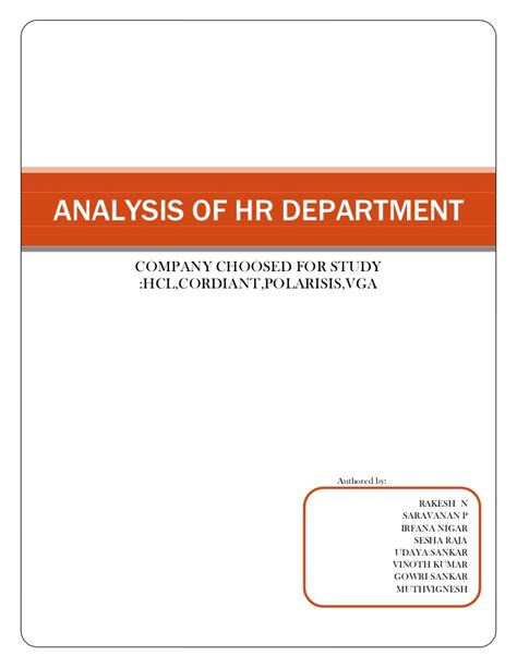 Department Code For Mba by Analysis Of Hr Department