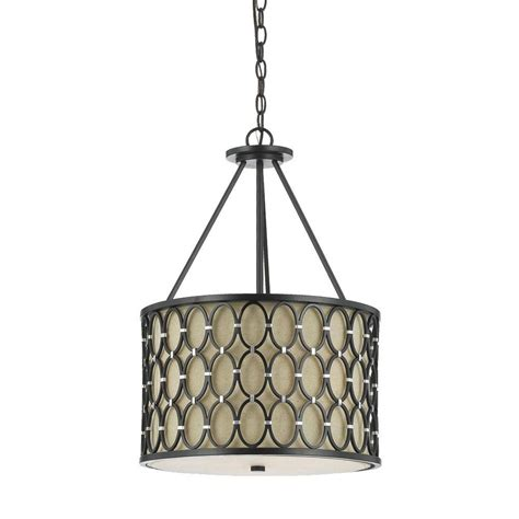 Linen Pendant Light Af Lighting Cosmo 3 Light Rubbed Bronze Pendant With Linen Shade 8102 3h The Home Depot