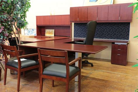 bernhardt shift cherry u shaped executive desk with