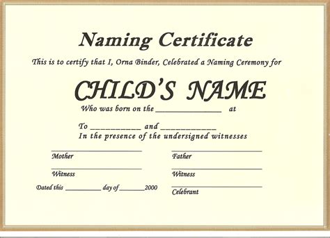 28 naming certificate template universal church baby