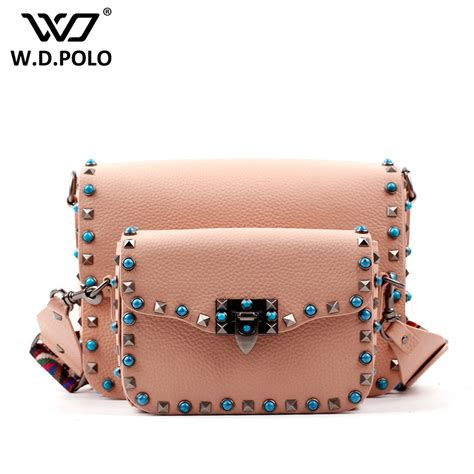 Stud Style Bag 7 wdpolo stud and lock lock style genuine leather flap ộ ộ bag bag fashion