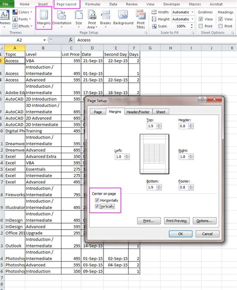excel layout tips excel page layout acuity training