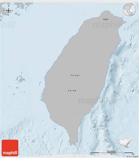 gray 3d map of taiwan single color outside