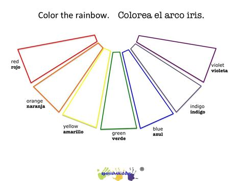 spanish rainbow coloring page rainbow coloring blank with bilingual terms