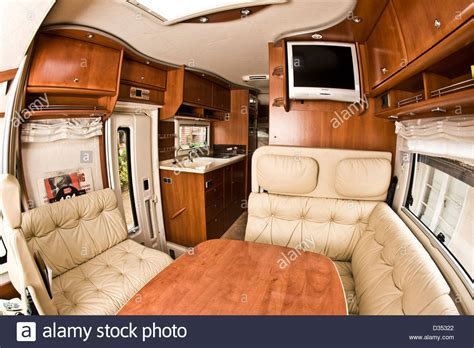 motor home interior seating area and table in concorde luxury motorhome interior stock photo 53587242 alamy