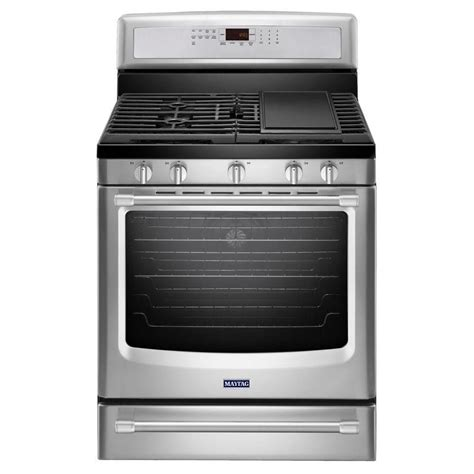 maytag 5 8 cu ft free standing gas range with griddle in