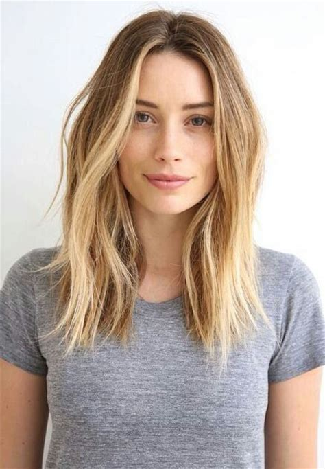 straight lob with middle part beach wavy hair middle part hair make up