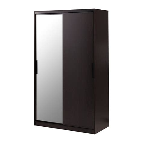Brown Wardrobe With Mirror Morvik Wardrobe Black Brown Mirror Glass Ikea