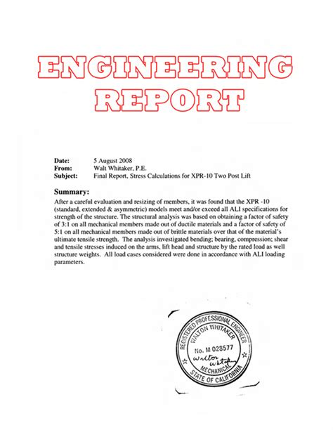 design report meaning engineering report