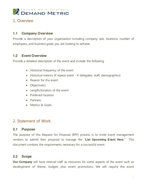 Business Letter For Event Management Event Management Rfp Template