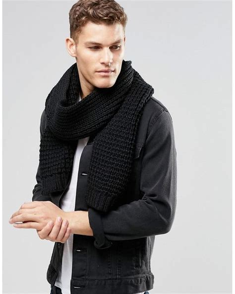 asos knitted scarf in black in black for lyst
