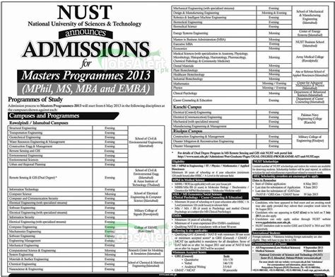 Ms Mba Admission 2017 by Nust Admissions 2013 2014 Master Mphil Ms Mba Emba Prog