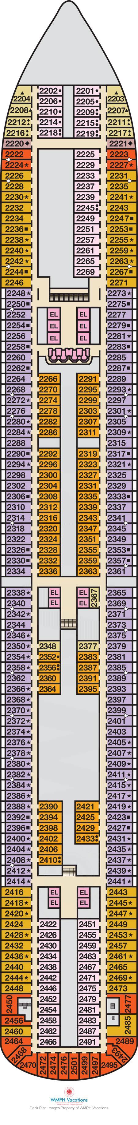 carnival breeze floor plan carnival breeze deck plans deck 2 what s on deck 2 on carnival breeze cruisecheap com