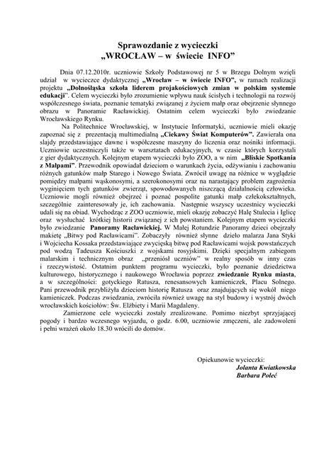 Sprawozdanie z wycieczki Wrocław – w świecie info