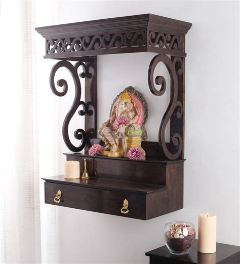 buy wenge mango wood avaneesh wall mounted temple by