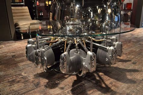coffee table made from original aircraft radial engine table a caff 233 faite a partir de moteur