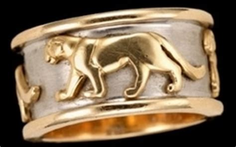 Get The Look Camerons Panther Ring by Ring Cartier Style 14k White Yellow Gold Band