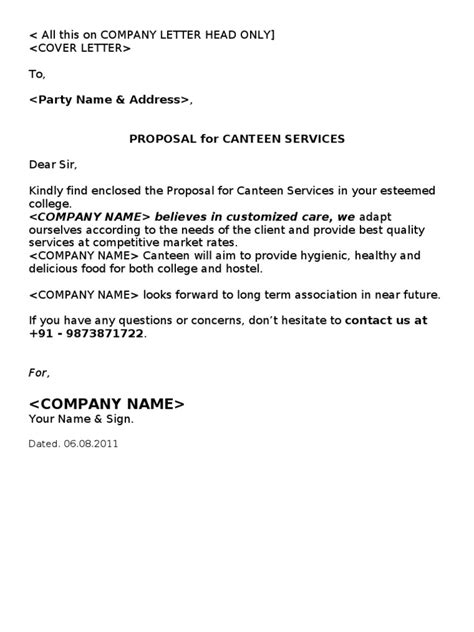 Wine Company Introduction Letter Canteen Cafeteria Kitchen
