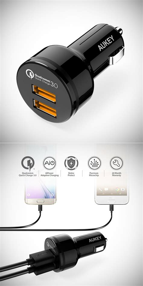 Aukey Qualcomm Fast Charging 3 0 Dual Port Garansi Resmi Cct8 Cc T8 aukey cc t8 car charger has dual charge 3 0 ports