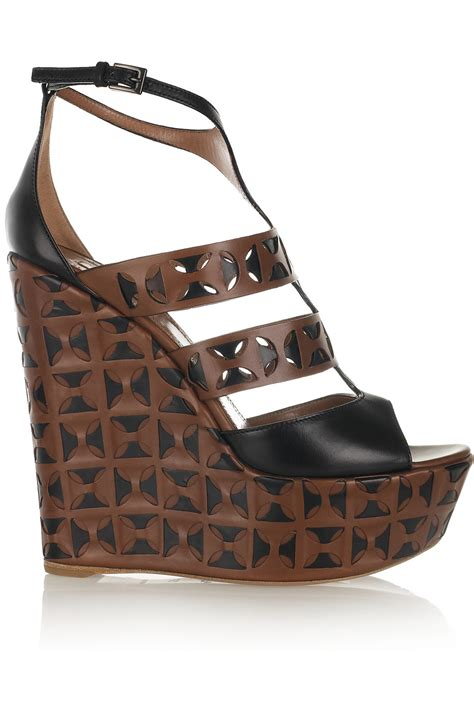 ala 239 a laser cut leather wedge sandals chocolate aemow