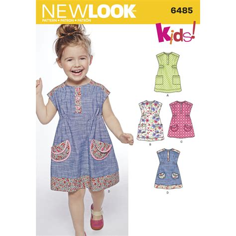 sewing patterns in australia new look 6485 toddlers dress or tunic with fabric variations