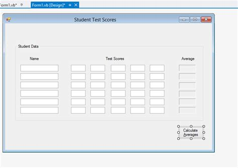 form design for quiz system student test scores array help vb net dream in code