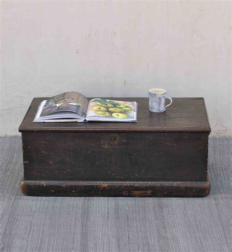 Antique Black Small Pine Blanket Box Linen Chest Coffee Pine Chest Coffee Table