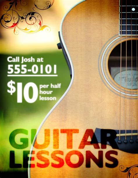 Design An Edgy Flyer Using Your Own Photography Design Shack Guitar Lesson Flyer Template