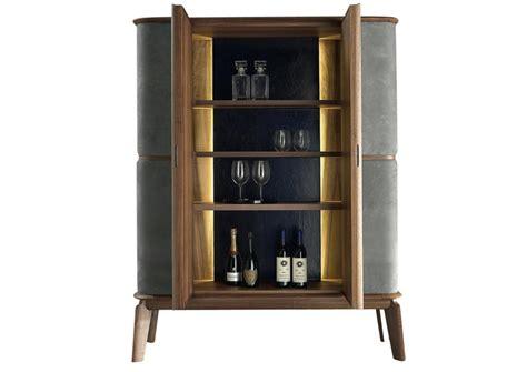 Leather Bar Cabinet Matthias Walnut Leather Bar Cabinet Custom Contemporary Furniture Lighting And Interiors