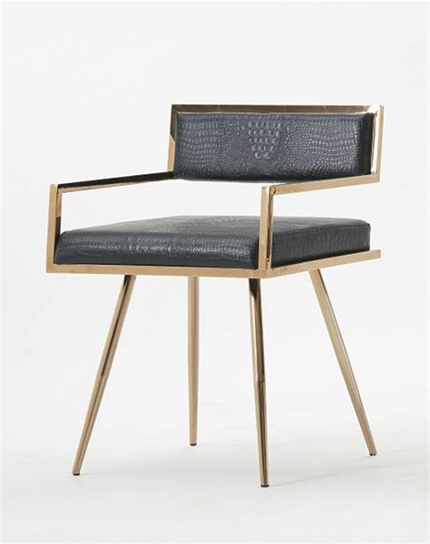 modrest rosario modern black rosegold dining chair