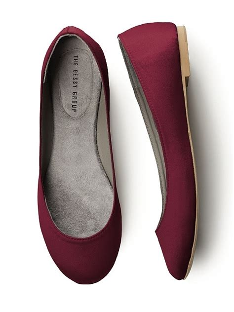 Flat Shoes Ballet Maroon simple satin ballet flat in burgundy wedding shoes by dessy loverly on the hunt
