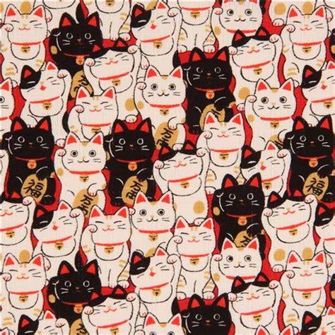Workshop Khemiko Shop Wallpaper 5m black white fortune lucky cat laminate fabric from japan