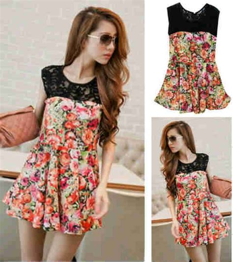 Blouse Wanita Motif Daun Kombi Brukat blouse korea sablon bunga kombi lace s118 spandex dress wanita korea