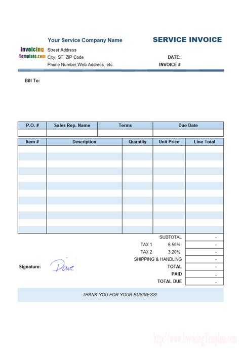 Sle Service Invoice Template Using Handwriting Signature Service Call Invoice Template